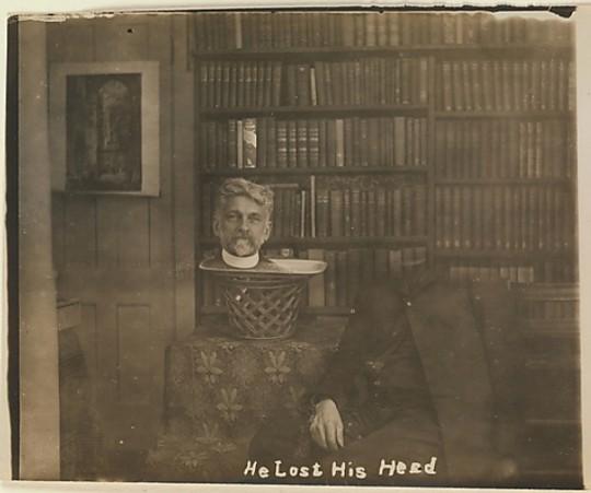 """""""Ele perdeu a cabeça"""" (literalmente), de 1910"""