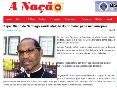 """Reprodução da manchete do site português """"A Nação"""""""