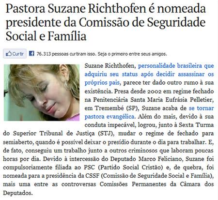 Reprodução da noticia sobre a nomeação de Suzane Richthofen é nomeada presidente da Comissão de Seguridade Social e Família