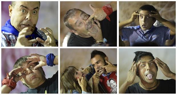Participantes fazem caretas durante concurso de feios (Foto: Vincent West/Reuters)