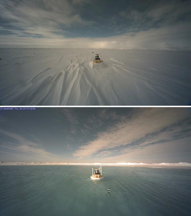 Imagem acima mostra instrumento da NOAA em região congelada do Polo Norte, em 7 de junho. Na imagem debaixo, derretimento do gelo no mesmo local, em 25 de julho, formou um lago (Foto: NOAA/AP)