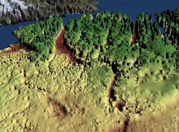 Imagem de animação da Nasa mostra o formato do cânion sob o gelo (Foto: Nasa/Divulgação)
