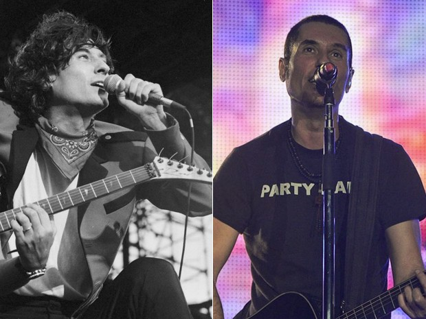 Dinho Ouro Preto canta no Rock in Rio 1991 (à esquerda) e no Rock in Rio 2011 (à direita). O Capital Inicial também tocou em 2001 e, em 2013, fará seu quarto show no festival (Foto: Jonas Cunha/Estadão Conteúdo E Flávio Morais/G1)