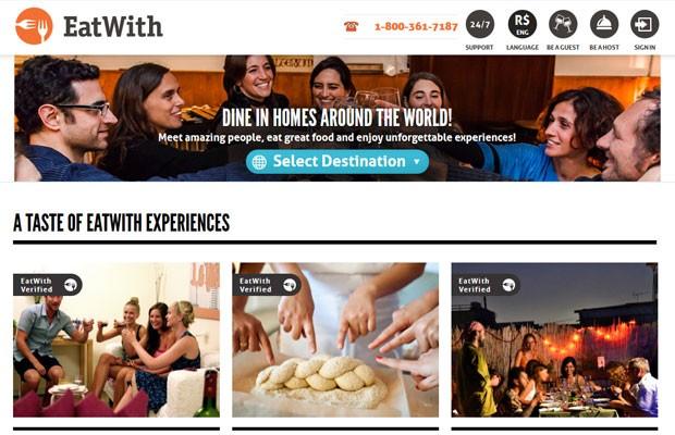 Página inicial do 'EatWith' que oferece experiências gastronômicas em 11 países, incluindo o Brasil. (Foto: Reprodução/EatWith)