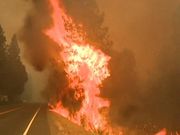Fogo na Califórnia está fora de controle há mais de uma semana (Foto: BBC)
