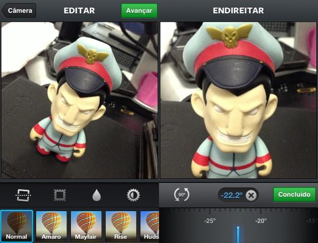 """Nova atualização para o Instagram inclui recurso """"endireitar"""" (Foto: Bruno Araujo/G1)"""