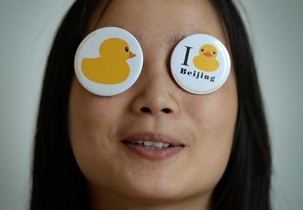 Objeto faz parte da homenagem feita pelos chineses ao pato de borracha (Foto: Mark Ralston/ AFP)