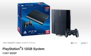 Anúncio do modelo de 12 GB do PS3 no site da Sony (Foto: Reprodução)