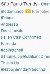 Trending Topics em São Paulo às 17h'0 (Foto: Reprodução/Twitter.com)