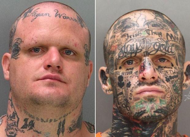 Jesse Edward Starkey em fotos ao ser preso em 2007 (à esquerda) e 2013 (Foto: Ada County Sheriff/Divulgação)