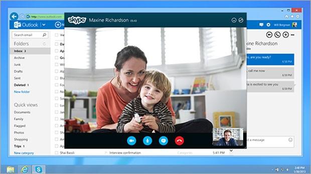 Imagem de um bate-papo utilizando o Skype integrado no Outlook.com (Foto: Divulgação)