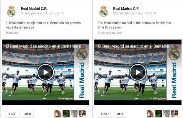 Imagem da ferramenta de tradução de mensagens postadas no Google+ (Foto: Divulgação)
