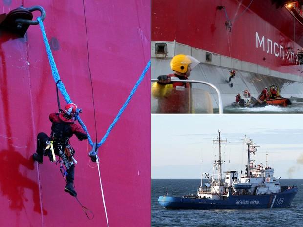 Ativistas do Greenpeace escalam a plataforma de óleo russa Prirazlomnaya, da estatal russa Gazprom, na costa do Mar de Pechora. A guarda costeira chegou a dar um tiro de alerta para conter o ato, que visava impedir a exploração da área sensível do Ártico. (Foto: Denis Sinyakov/Greenpeace/AFP)
