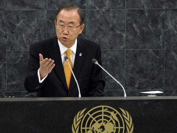 O secretário-geral da ONU, Ban Ki-moon, fala na Assembleia Geral na sede da organização, em Nova York. (Foto: Timothy A. Clary/AFP)