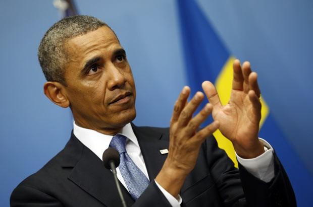O presidente dos EUA, Barack Obama, fala sobre a Síria nesta quarta-feira (4) em Estocolmo (Foto: AFP)