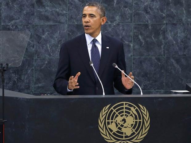 O presidente dos EUA, Barack Obama, discursa diante da Assembleia Geral da ONU após a fala de Dilma Rousseff (Foto: Mike Segar/Reuters)