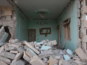 Casa destruída em Aleppo (Foto: Gabriel Chaim/G1)