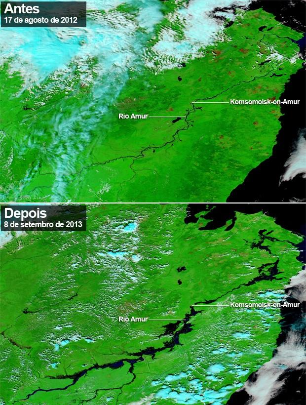 Imagens de antes e depois das enchentes no rio Amur (Foto: Holli Riebeek/Modis/Nasa)