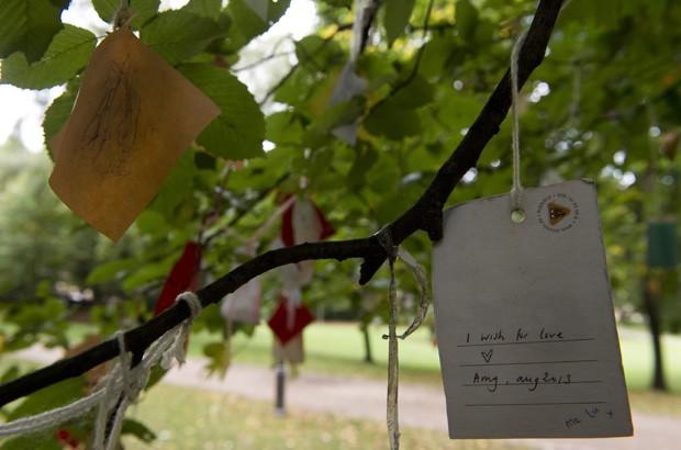 Bilhete pendurado em galho exibe mensagem: 'eu desejo amor', (Foto: John Macdougall/AFP)