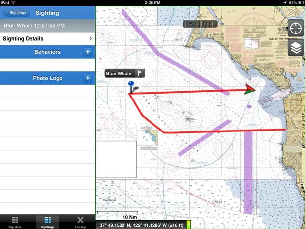 Reprodução da tela do aplicativo que ajuda a localizar baleias na costa da Califórnia (Foto: Point Blue/AP)
