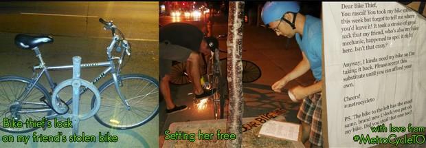 Sequência mostra 'resgate' de bicicleta roubada e a carta deixada ao ladrão (Foto: Reprodução/Facebook/MetroCycle TO)