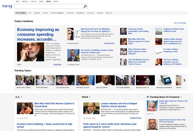 Bing, buscador da Microsoft, terá notícias que viraram hit nas redes sociais Facebook e Twitter. (Foto: Divulgação)