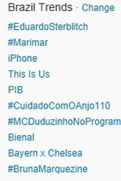 Trending Topics no Brasil às 17h15 (Foto: Reprodução/Twitter.com)
