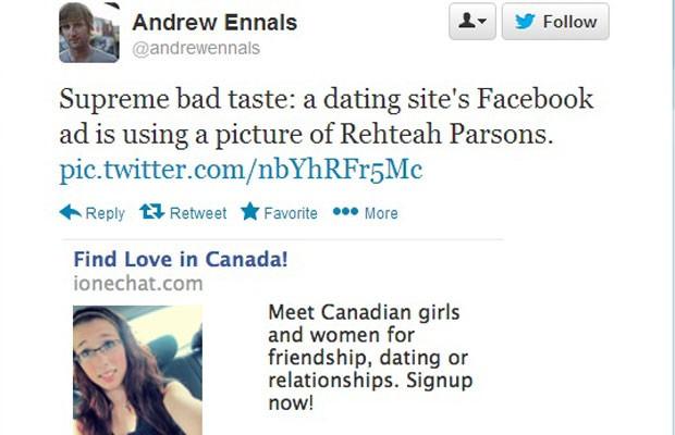Canadense tuitou peça publicitária do Facebook que continha a foto de jovem que se suicidou após sofrer bullying virtual. (Foto: Reprodução/Twitter.com)