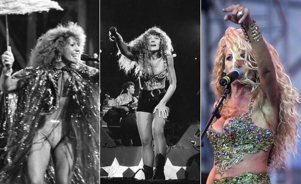 Elba Ramalho no Rock in Rio (da esquerda para a direita) em 1985, 1991 e 2001 (Foto: Arquivo/Estadão Conteúdo, Ana Carolina Fernandes/Estadão Conteúdo e Milton Michida/Estadão Conteúdo)
