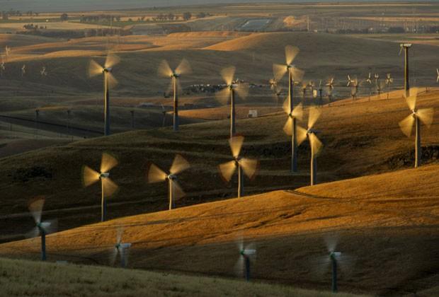 Turbinas para energia eólica são vistas em Altamont Pass, na Califórnia, no dia 12 de maio (Foto: Noah Berger/AP)