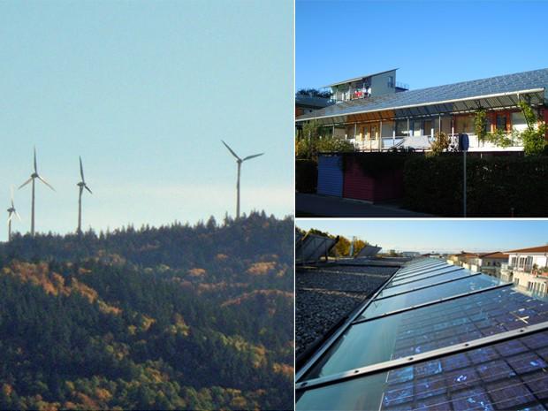 À esquerda, exemplos de turbinas de energia eólica que funcionam em regiões da Alemanha; à direita, casas sustentáveis que são abastecidas com luz solar em bairro de Freiburg (Foto: Eduardo Carvalho/Globo Natureza)