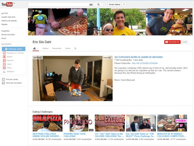 Na sua página no Youtube, Eric Dahl mostra vídeos onde come dezenas de pedaços de pizza, sanduíches gigantes, e uma prova onde engoliu seis cupcakes em 20 segundos (Foto: Reprodução/Youtube)