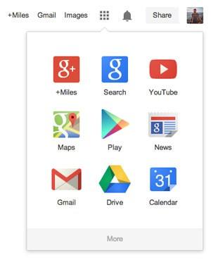 Google substitui a barra de ferramentas preta por uma tela que reúne todos os serviços, como se fossem aplicativos do Android. (Foto: Divulgação/Google)