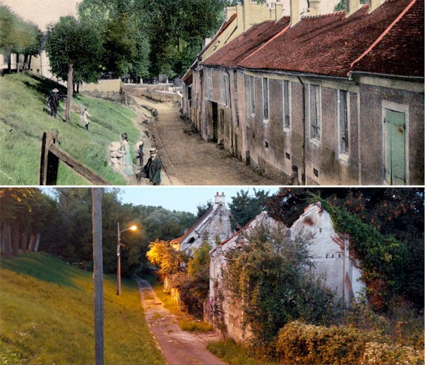 Rua Gaudry, em 1910 e atualmente (Foto: Reuters/Charles Platiau)