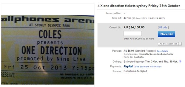Australiana anunciou ingressos no eBay como forma de punição das filhas (Foto: Reprodução/eBay/tsfe)