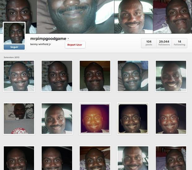 Perfil curioso reúne imagens praticamente idênticas, todas mostrando o rosto do dono do perfil sorrindo (Foto: Reprodução/Instagram/mrpimpgoodgame)