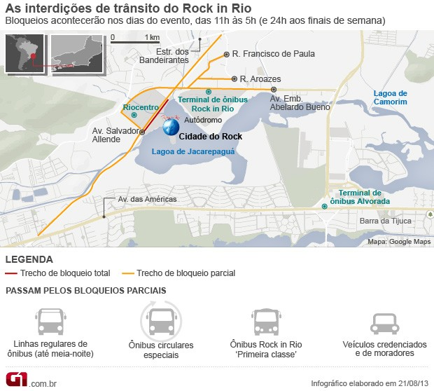 Mapa interdições Rock in Rio (Foto: Editoria de Arte/G1)