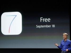 Craig Federight, vice-presidente de software e engenharia da Apple, anuncia que o novo sistema operacional, o iOS 7, será lançado em 18 de setembro. (Foto: Stephen Lam/Reuters)