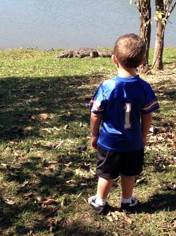 criança próxima de jacaré em lagoa (Foto: Rogério Sampaio/Tem Você)