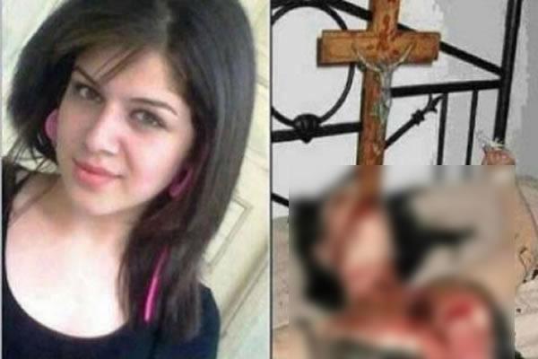Jovem teria sido morta com uma cruz enfiada em sua garganta! Verdade ou farsa? (Foto: Reprodução/Facebook com trechos borrados por E-farsas)