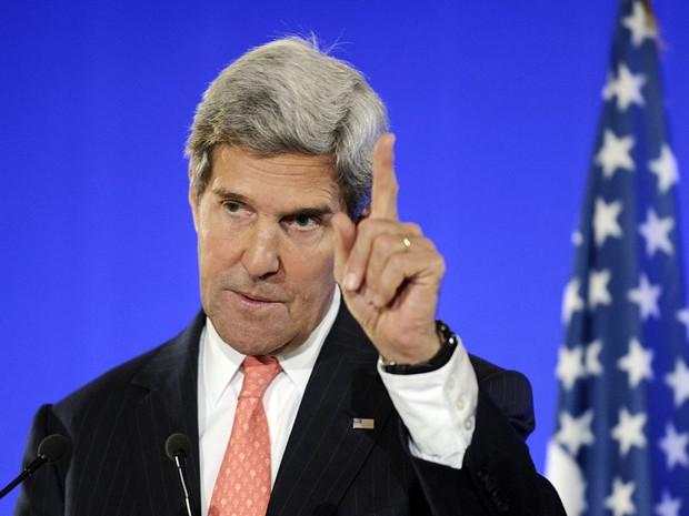 O secretário de Estado dos EUA John Kerry após participar de reunião com países da União Europeia (Foto: AFP/Pool/Susan Walsh)