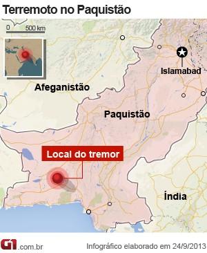 mapa terremoto paquistão 24/9 (Foto: 1)