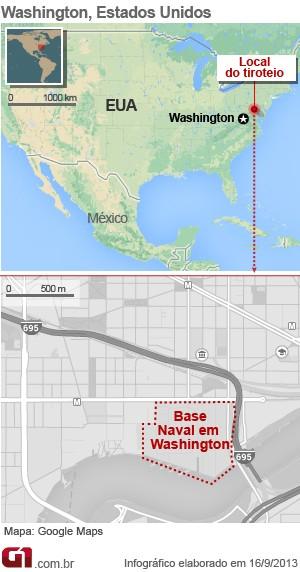 mapa base naval tiroteio (Foto: Arte/G1)