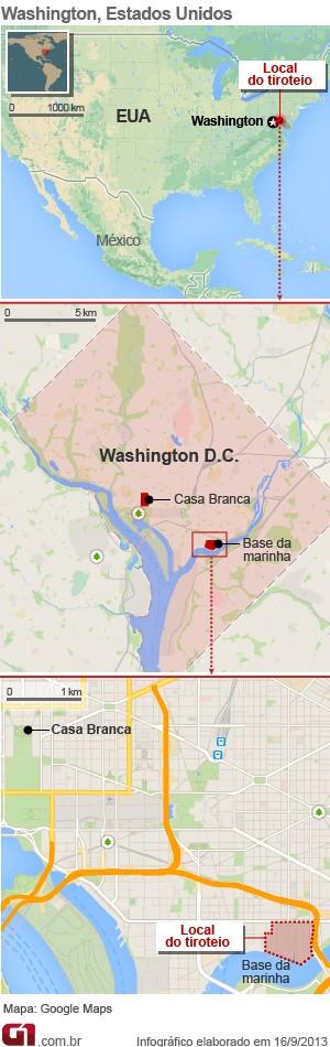 Mapa tiroteio EUA - base naval - vale este (Foto: Arte/G1)