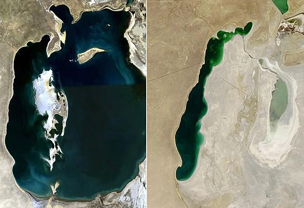 Mar de Aral visto em foto de satélite feita em 2008 (esq.) e neste domingo (22) (Foto: Nasa/AFP)