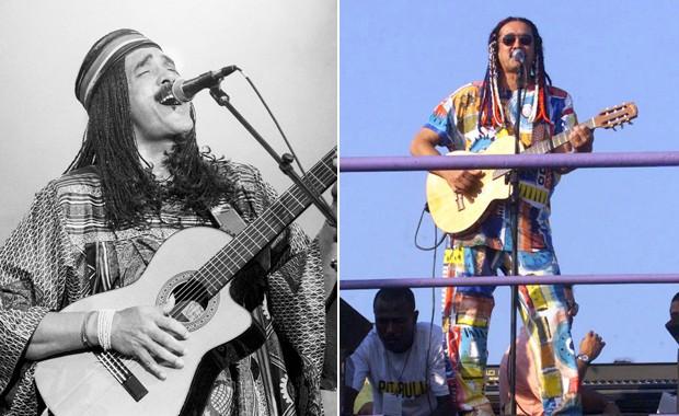Moraes Moreira no Rock in Rio 1991 (esquerda) e 2001 (Foto: Ana Carolina Fernandes/Estadão Conteúdo e Wilton Junior/Estadão Conteúdo)