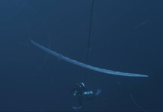 Organização BLOOM divulga imagem das profundezas do oceano, onde o mítico peixe-remo foi flagrado em seu habitat natural. (Foto: Reprodução/Facebook/BLOOM)