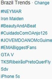 Trending Topics no Brasil às 17h24. (Foto: Reprodução/Twitter.com)