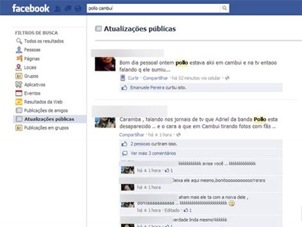 Fã da banda Pollo diz em rede social que o cantor Adriel, supostamente desaparecido, foi visto em Cambuí (MG) (Foto: Reprodução/Facebook)