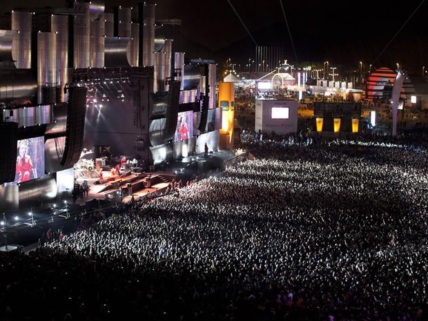 Cidade do Rock lotada para assistir ao show do Slipknot, e, em seguida, à apresentação do Metallica (Foto: AP)